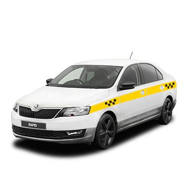 Белый рапид под такси